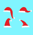 simple cartoon christmas hat icons vector image
