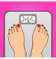 Woman feet floor scales pop art style vector image