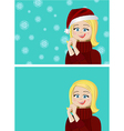two variants of a happy girl vector image vector image