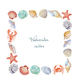 Watercolor square frame of sea shells vector image