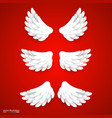 Artificial white paper wings set vector image