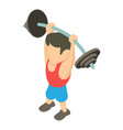 powerlifter icon isometric 3d style vector image