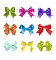 set of colorful gift bows with ribbons decoration vector image