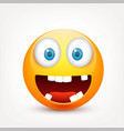 smiley with blue eyesemoticon set yellow face vector image