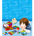 childrens pattern for a baby boy vector image vector image