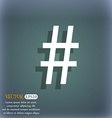 hash tag icon On the blue-green abstract vector image