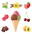 ice cream cone and different flavors icons vector image vector image