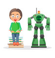 child sits on pile of books and reads beside robot vector image