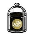 color vintage tea shop emblem vector image