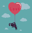 Cute valentine with dog on balloon vector image