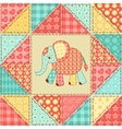 Elephant quilt pattern vector image