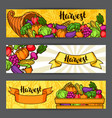 harvest festival banners autumn with vector image