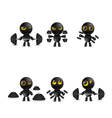 Set of cartoon characters emoticon with dumbbells vector image