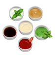 set of tasty fresh sauce fish and meat on a white vector image