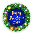 Hppy New Year 2017 Card White card with Christmas vector image