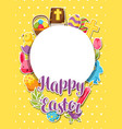 happy easter frame with decorative objects eggs vector image