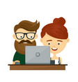 young hipster couple man and woman sitting vector image