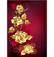 Gold Roses on Red Background vector image vector image