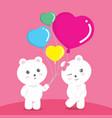 bears balloon love pink valentine vector image