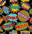 Comic pop art stitch patch seamless pattern vector image