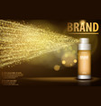 gold spray bottle isolated on black background for vector image