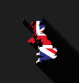 United Kingdom UK flag map flat design vector image
