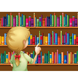 A girl selecting books vector image vector image