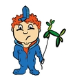 Red-haired cartoon child boy with balloon vector image