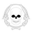 Wild west emblem Skull and pistols in lasso frame vector image