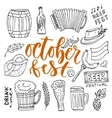 Beer October Fest doodle icons set beer vector image