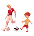 boy and adult soccer player playing football vector image