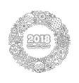congratulation card happy new year 2018 wreath vector image