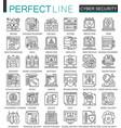 cyber security outline mini concept symbols vector image