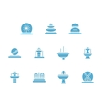 Fountains decor glyph style icons set vector image