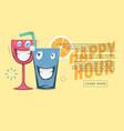happy hour web banner design funny cartoon vector image