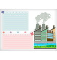 Paper design with park and factories vector image