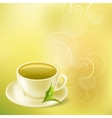 pastel background with cup of green tea vector image