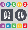 shoes icon sign A set of 12 colored buttons Flat vector image