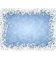 Snowflakes frame on frosty background vector image