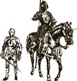 Soldier and Knight on a Horse vector image