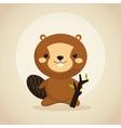 Beaver cartoon icon Woodland animal vector image