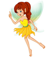 A fairy with a yellow dress vector image