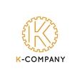 minimalistic outline orange K letter vector image