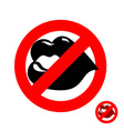 Stop kiss Forbidden kiss Frozen juicy womens lips vector image