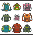 backpacks or rucksack isolated icons for vector image