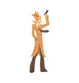 Detective character in brown coat standing and vector image
