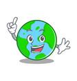 finger world globe character cartoon vector image
