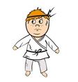 Karate cartoon kid red head with black belt vector image