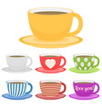 set of color cup flat vector image