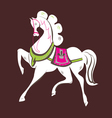 skipping beautiful white horse vector image